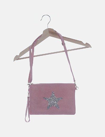 Bolso rosa detalle estrella glitter