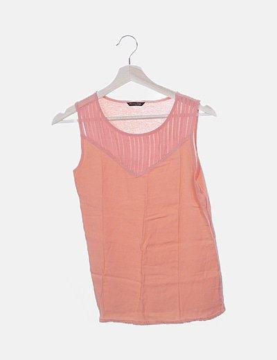 Blusa coral combinado detalle plisado