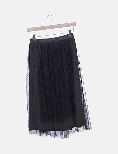 Falda negra plumeti