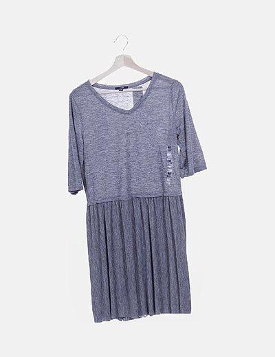 Vestido fluido gris combinado