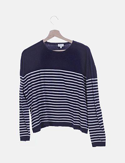 Jersey tricot azul marino rayas
