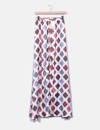 Maxi falda satinada rosa combinada