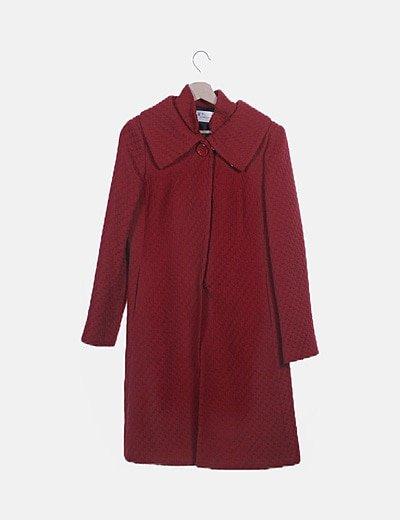 Abrigo tricot trenzado rojo