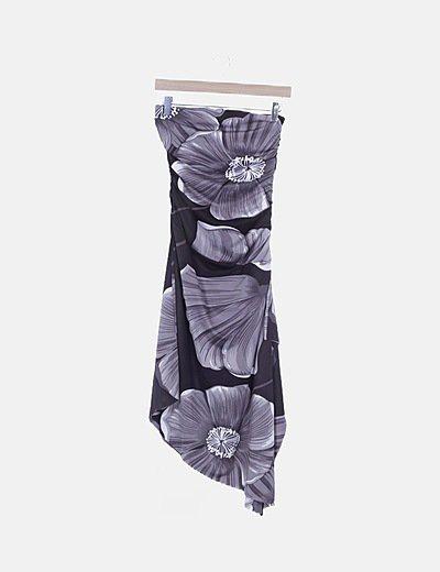Vestido drapeado floral gris