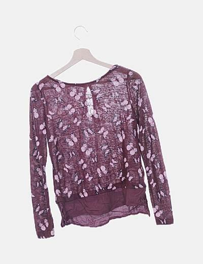 Jersey tricot granate mariposas