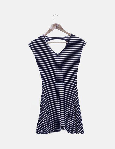 Vestido azul marino rayas