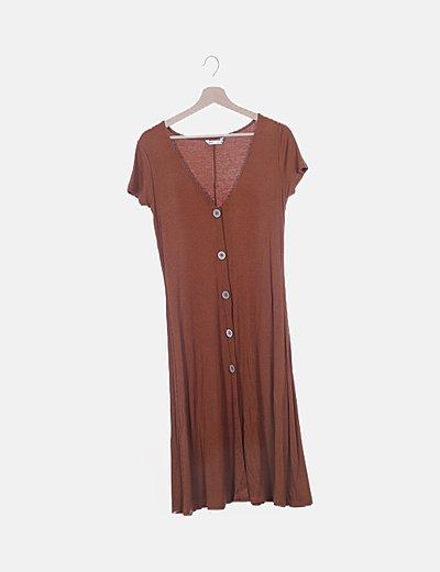 Vestido fluido marrón canalé