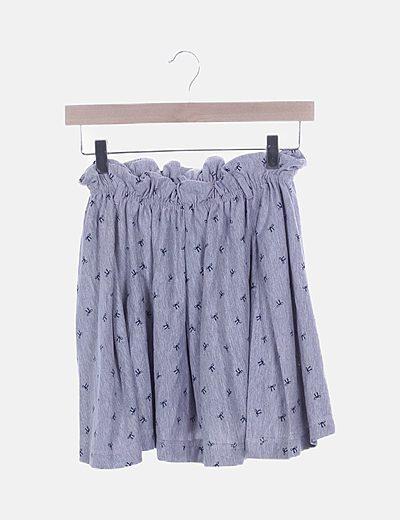 Falda gris print lazos con elástico