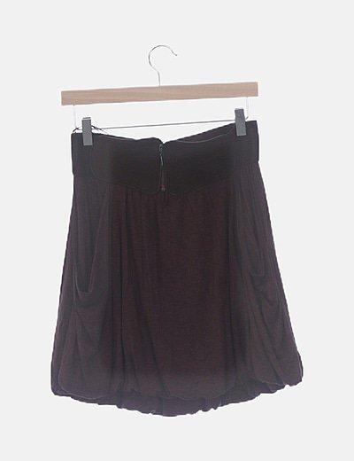 Falda marrón cinturón goma