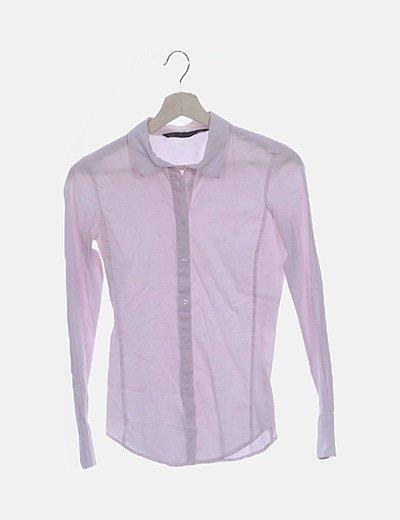 Camisa rosa rayas blancas