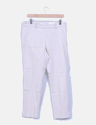 Pantalón nude con cremallera lateral