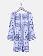 Vestido fluido blanco print floral azul Zara