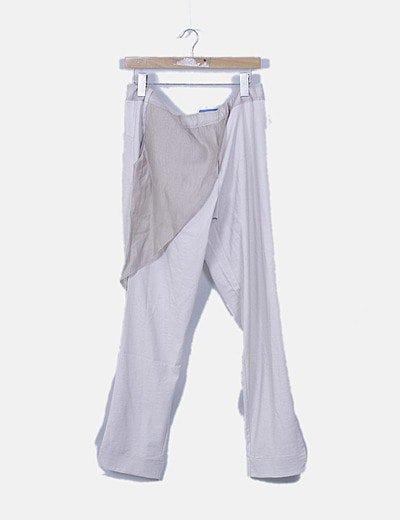 Pantalón fluido beige combinado