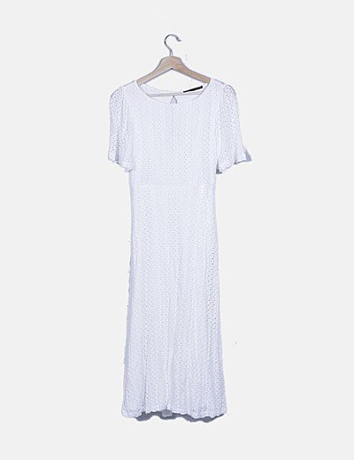 Maxi vestido troquelado blanco