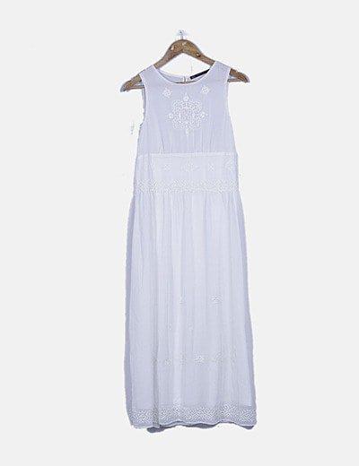 Vestido gasa blanco bordado