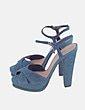 Sandalia de tacón azul con tiras Hoss Intropia