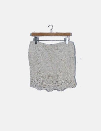 Falda midi blanca de encaje