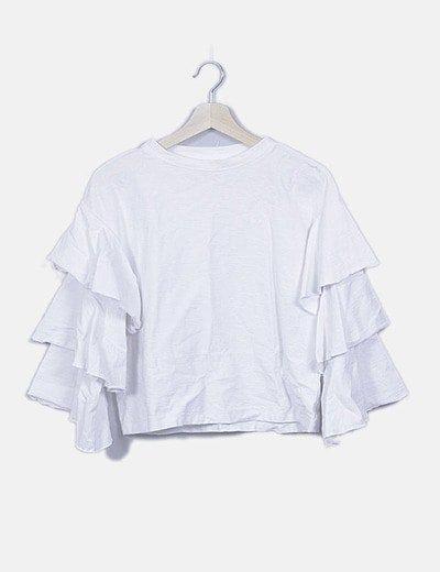 Camiseta blanca manga vuelo