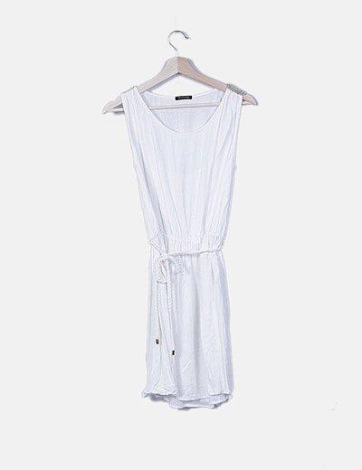 Vestido blanco con elástico cintura