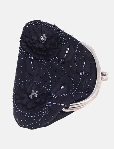 Bolso mini negro con flores y abalorios