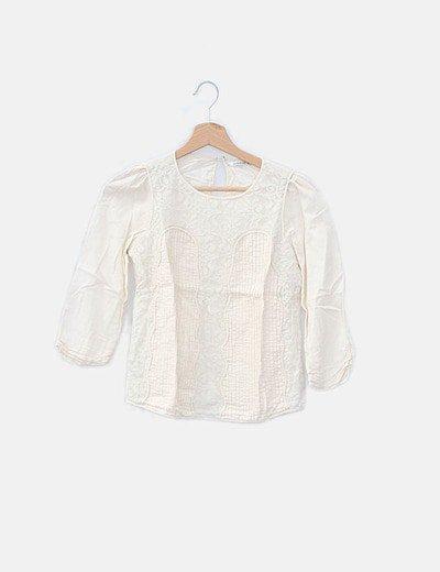 Blusa combinada blanco roto