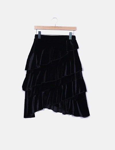 Falda midi negra volantes velvet