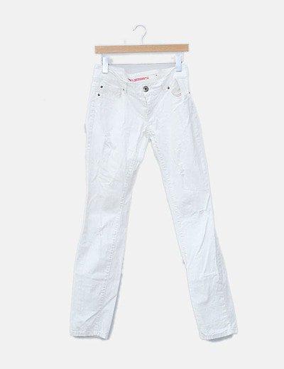 Pantalón denim blanco ripped