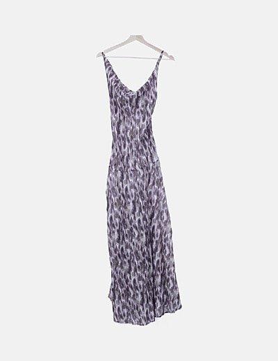Maxi vestido estampado combinado de tirantes