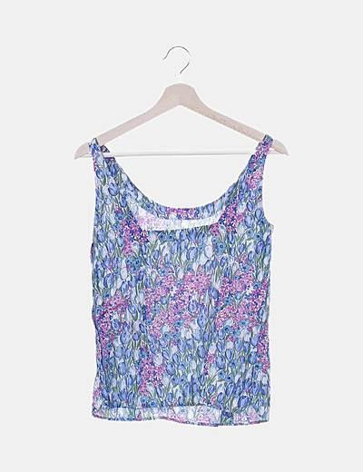 Camiseta azul floral