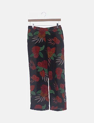 Pantalón fluido negro print floral multicolor