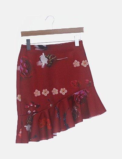 Mini falda roja floral asimétrica