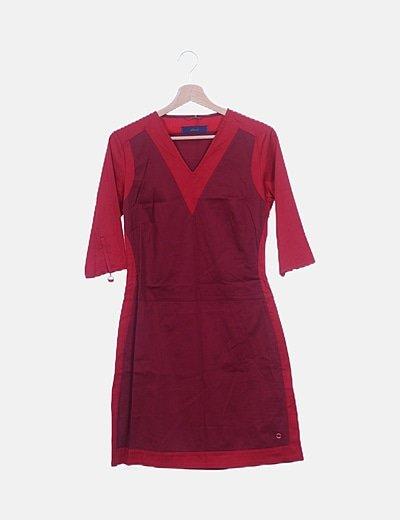 Vestido rojo combinado escote pico