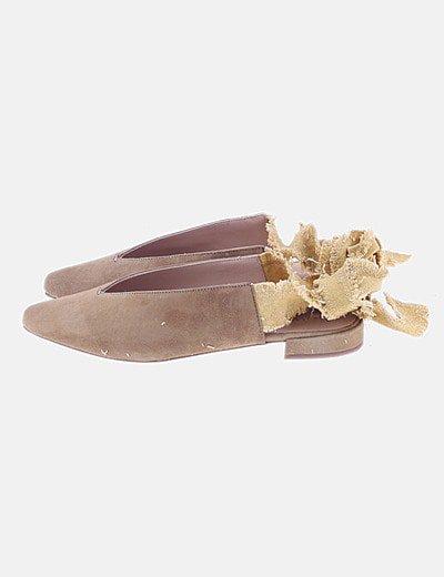 Bailarina mostaza lace up