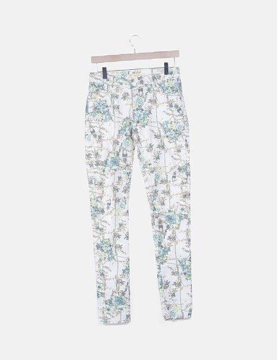 Pantalón denim estampado floral