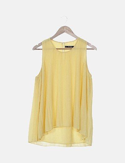Zara Blusa amarilla plisada (descuento 74 %) Micolet