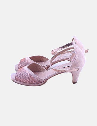 Sandalia de tacón rosa glitter peep toe
