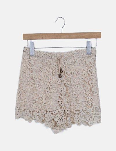 Shorts crochet beige