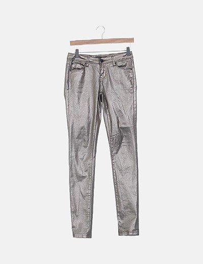 Pantalón pitillo bronce encerado