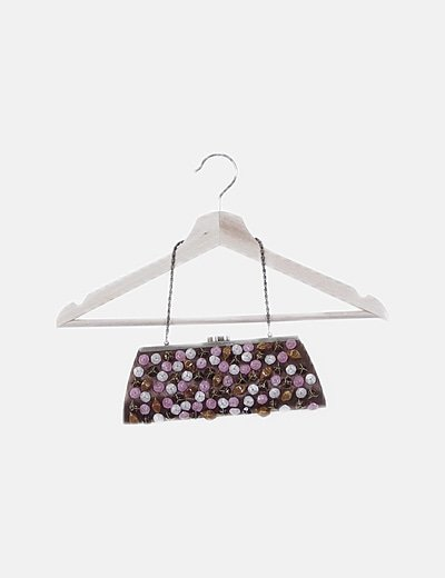 Bolso clutches marron con gemas