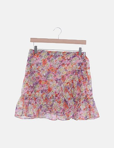 Mini falda gasa floral