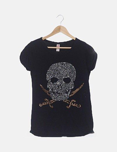 Camiseta negra calavera lentejuelas