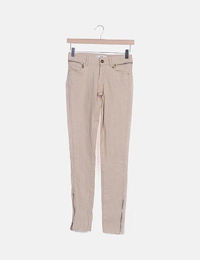 Jeans denim beige cremalleras