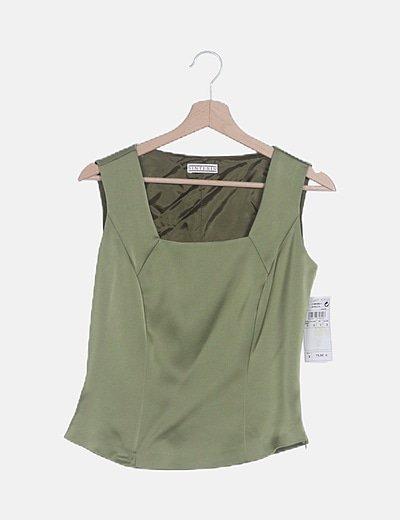Camiseta satén verde