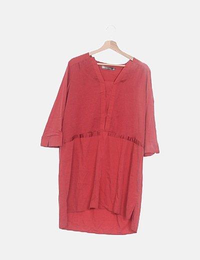 Vestido fluido rojo combinado