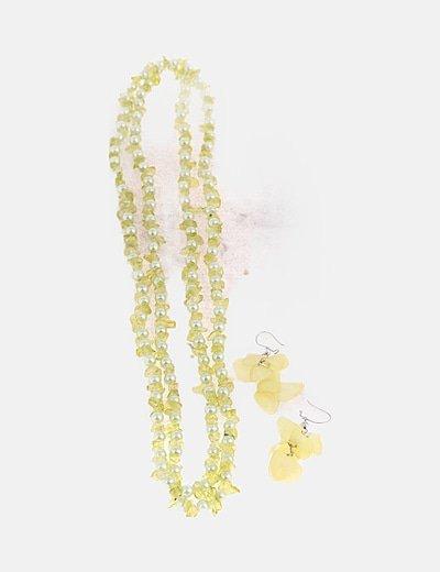 Conjunto collar y pulsera amarillo