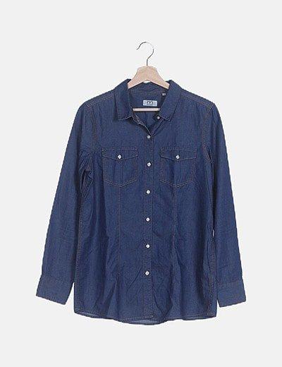 Camisa efecto denim azul