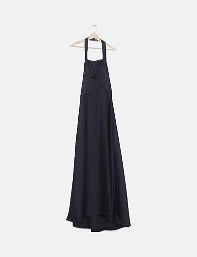 Vestido halter satén negro