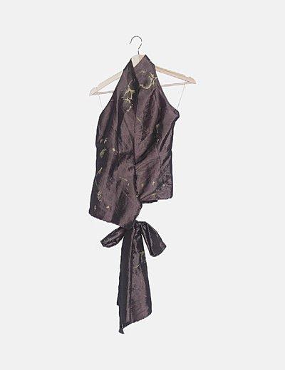 Conjunto top y falda marrón