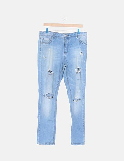 Jeans denim recto ripped