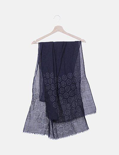 Pañuelo azul marino tachas